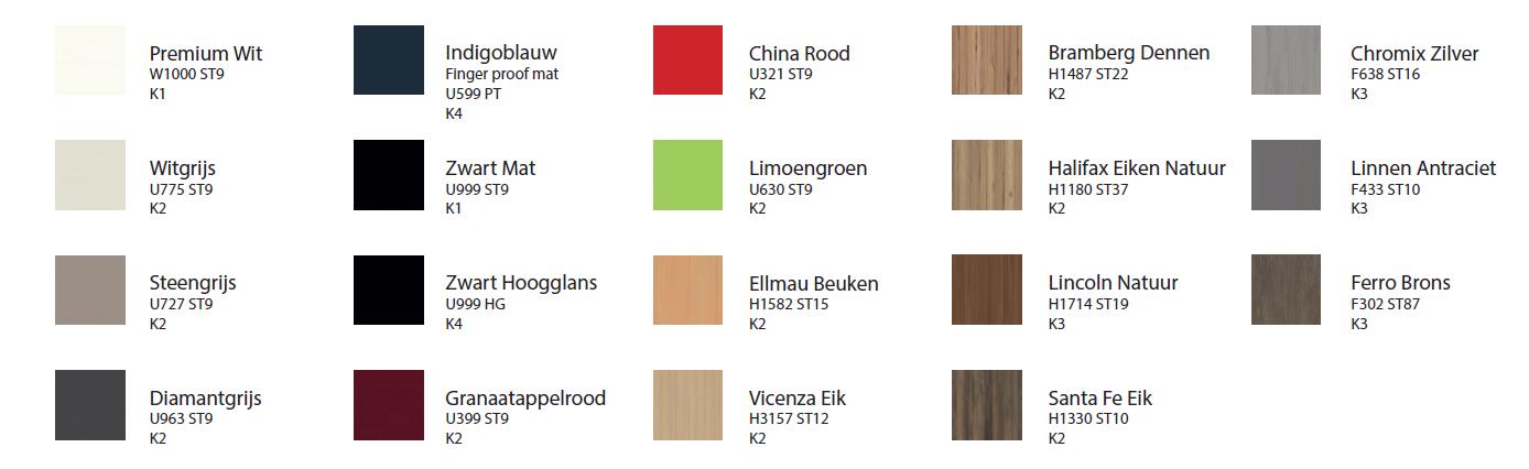 Ons Permute kastensysteem kan samengesteld worden met behulp van 19 verschillende decor fronten.